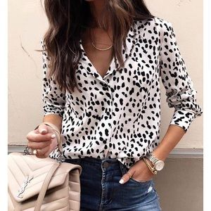 White and black animal print shirt